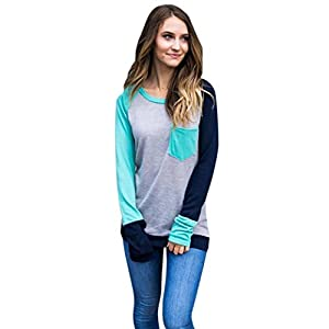 Forthery Womens Long Sleeve Casual Tunic Tops With Pockets (L, Gray)