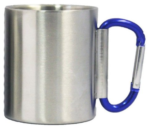Stainless Steel double Insulated New Folding Handle Carabiner Mug (Stainless Steel Carabiner Mug)