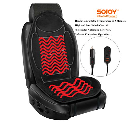 Sojoy  12V Heated Seat Cushion Made with Super Soft Velour
