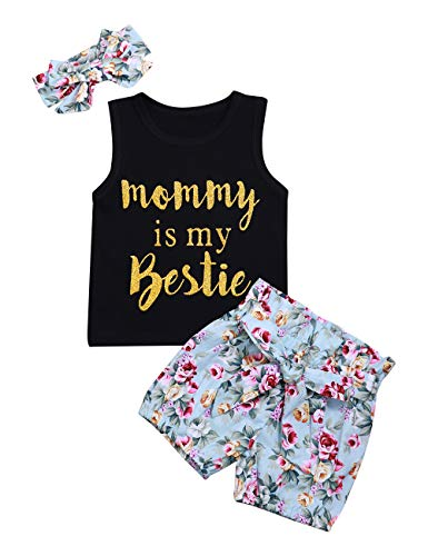 Infant Baby Girl Clothes Mommy is My Bestie Black Sleeveless Tops Floral Pants and Headband Summer Outfit Set (2-3 T) - Girl Baby Clothes 2t