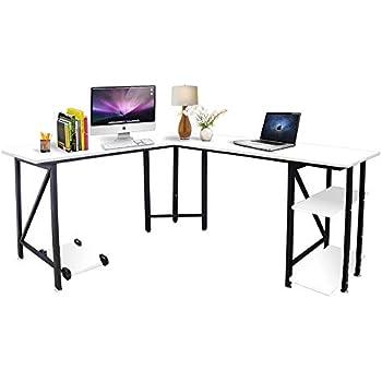 Amazon Com Tribesigns Modern L Shaped Desk With Bookshelf
