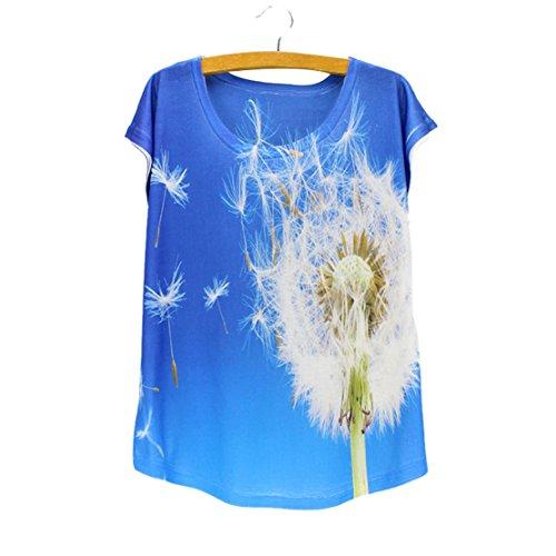 manga de Acvip Blusa de Cuello de Camiseta corta Diente redondo mujer le Top YqHRTg0