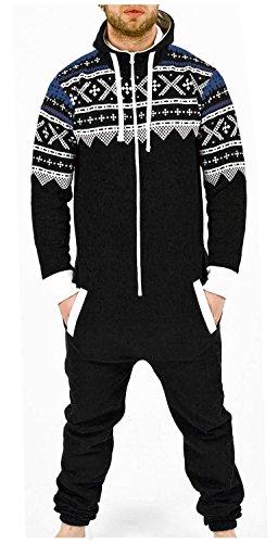 Juicy Trendz Men's one Piece Jumpsuit Hooded Playsuit All in one Aztec Black Large