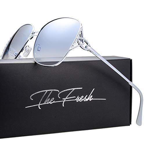 Classic Crystal Elegant Women Beauty Design Sunglasses Gift Box (L151-Silver, Blue - Dark Lenses Blue Gradient