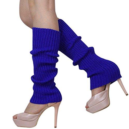 Buyeonline Candy Color Mujer Niñas Tejer Calentadores De Pierna Medias Hasta La Rodilla Calcetines De Arranque Azul