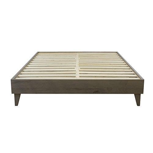 Rustic Barnwood Platform Bed - Reclaimed Ash Hardwood w/ Cast Aluminum Brackets - 100% Handmade in Indiana by Artisan Amish Craftsmen - No Box Spring Required - California King