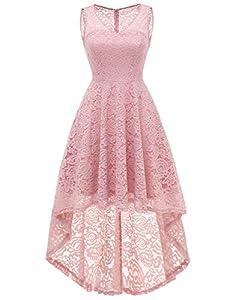 DRESSTELLS Women's Cocktail V-Neck Dress Floral Lace Hi-Lo Formal Swing Party Dress