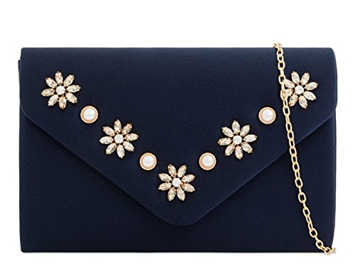 mate's Wedding Floral 2279 Bridal Clutch Women's Bag Navy LeahWard Handbags Bridal xaSq0Iw