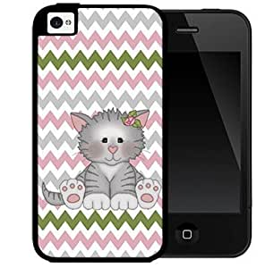 Cute Kitten with Pink Rose Bow in Ear and Gray Pink Green Chevron Pattern Background 2-Piece Dual Layer High Impact Black Silicone Cell Phone Case Cover iPhone 4 4s