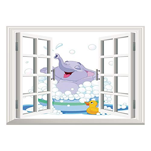 Cheap  SCOCICI Removable 3D Windows Frame Wall Mural Stickers/Nursery,Elephant Takes Bubble Bath in..