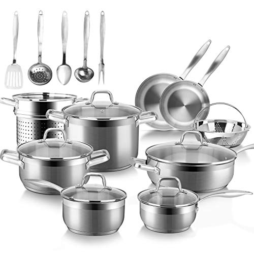 Duxtop Professional Stainless Steel Induction Cookware Set, 19PC Kitchen Pots and Pans Set, Heavy Bottom with Impact…