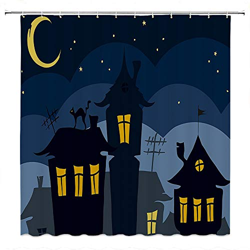 SATVSHOP for-Decorative-Bathroom-Curtains-for-Master,-Kid's,-Guest-Bathroom-Halloween-Old-Town-with-Cat-on-The-oof-Night-Sky-Moon-and-Stars-Hous-Cartoon-Art-Black-Yellow-Blue.W72-x-L78-inch -