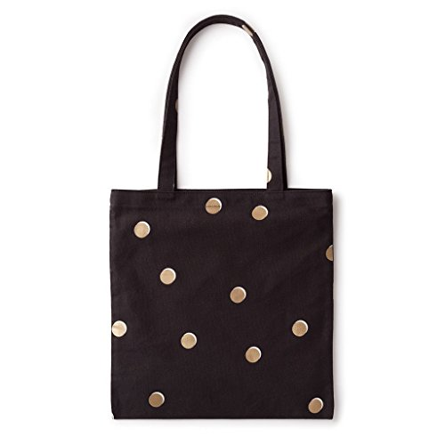 Cute Tote Bags (kate spade new york Canvas Book Tote - Scatter Dot, Black, Gold,)