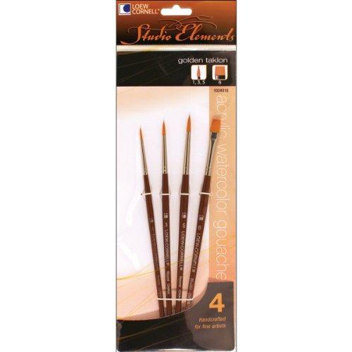 (Loew-Cornell 1024918 Studio Elements Short Handle Golden Taklon Round/Shader Brush Set, 4-Piece)