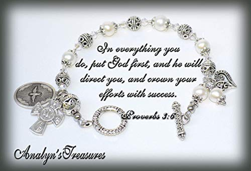 Rosary Bracelet Freshwater Pearl (Confirmation Rosary Bracelet in Freshwater Pearls, Rosary Bracelet, Pearl Bracelet, Four Way Cross, Holy Spirit Bracelet, Or Choose Other Saints)