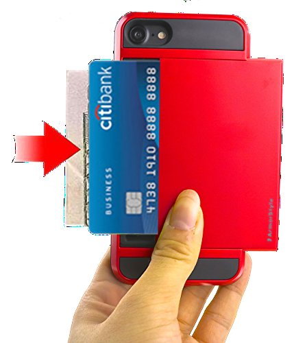 NEW - BEST IPHONE 7 CASE WITH CARD HOLDER | Thinnest 7 Wallet Case | 2 Cards/IDs or Cash | Rugged + Stylish | Pocket Friendly | Buy Best 7 Case With Card Holder - ArmorStyle Slim Slide (Ruby Red) Ruby Slide