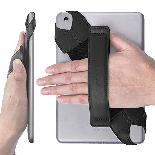 JOYLINK Universal Tablet Hand Strap Holder, 360 Degrees Swivel Leather Handle Grip with Elastic Belt, Secure & Portable for 7.9