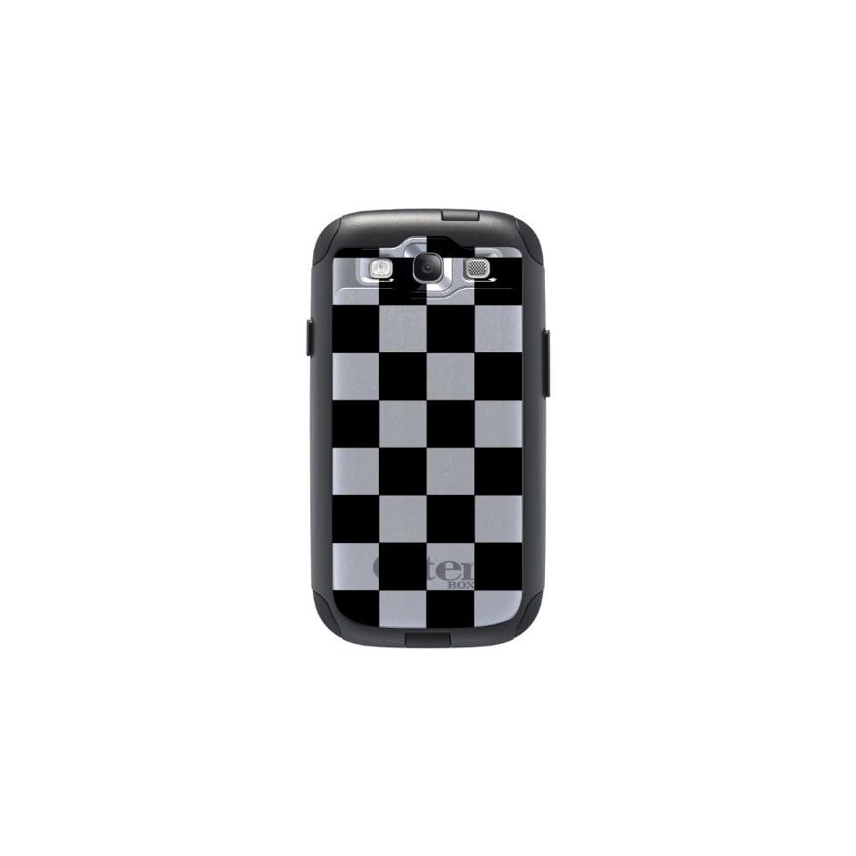 CUSTOM Black OtterBox Commuter Series Case for Samsung Galaxy S3   Black White Checkered Flag Geometric