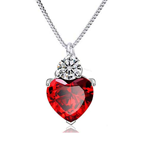 (IDOXE Queen of Hearts Necklace 925 Sterling Silver Chain January Birthstone Evie Red Heart Toy Princess Halloween Accessories Jewelry Valentine's Gift for Her)
