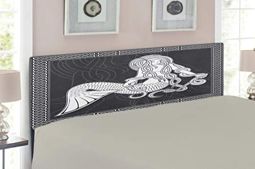 Ambesonne Mermaid Headboard for Queen Size Bed, Retro Art Illustration of a Mermaid Brushing Hair and Border with Celtic Patterns, Upholstered Decorative Metal Headboard with Memory Foam, Brown ()