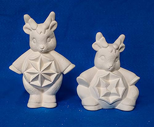 2 Star Belly Reindeer Ornaments unpainted ceramic bisque ready to be painted