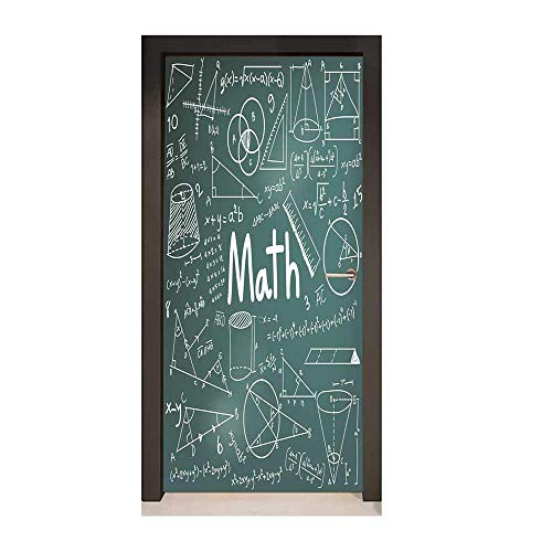 Mathematics Classroom Decor 3D Murals Wall Stickers School Board Full of Drawings Formulas Shapes Theory Math Word for Home Decoration Teal White,W23xH70 ()