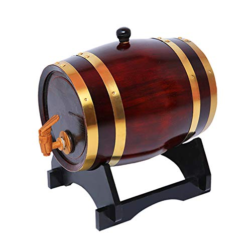 Premium Charred American Oak Aging Barrel for Aging Whiskey, Rum, Tequila, Bourbon, Scotch and Wine (Drak wine, 3 Liter)