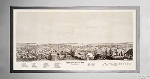 1871 Map|Essex|Lynn View of Lynn, Mass. in 1849 : from High Rock Panoramic View. Includes Index|Historic Antique Vintage Reprint|Ready to Frame
