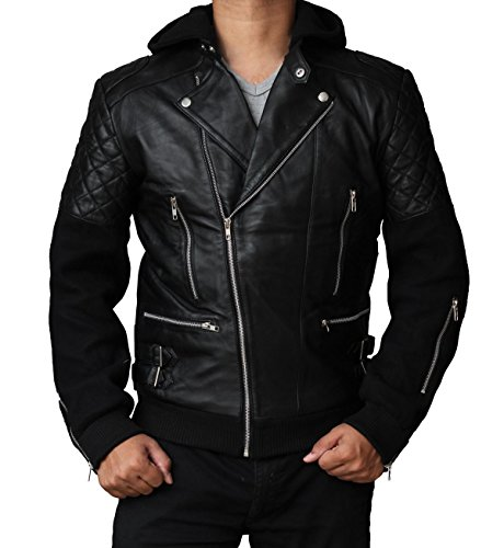 Chris Brown Black Biker Leather Costume Jacket For Boys M