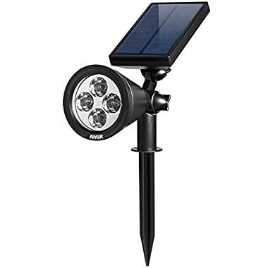 AMIR Upgraded 2 in 1 Solar Lights, Waterproof Outdoor Landscape Lighting Spotlight Wall Light Auto On/ Off for Yard Garden Driveway Pathway Pool Tree Patio