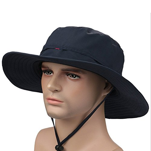 YYGIFT Unisex Wide Brim Sun Caps Sunblock Foldable Fishing Hiking Hunting Outdoor Hats UPF50+ Sun Protective Hats - Dark Blue