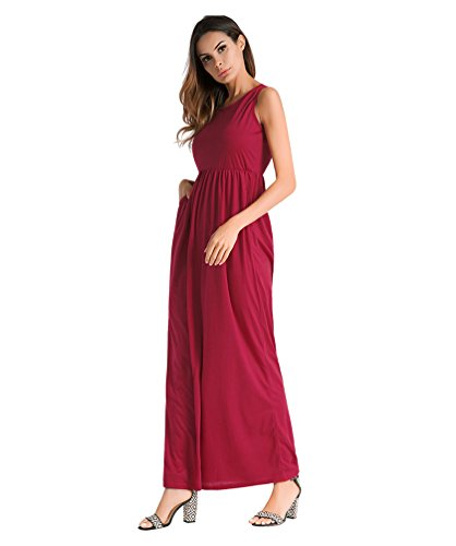 YiJeee Bretelles Pure Longue Couleur Chic Femme Dos Manche De Boheme Plage sans Robes Cocktail Party Robe Rouge Casual Nu xAxSR
