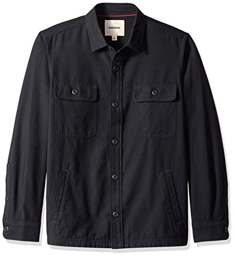 Goodthreads Men's Military Broken Twill Shirt Jacket, -black, X-Large