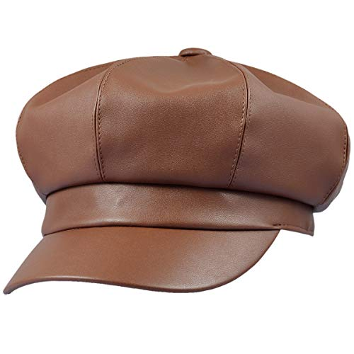 - Sportmusies 8 Panels Newsboy Caps for Women, PU Leather Cabbie Painter Hat Gatsby Ivy Beret Cap, Brown
