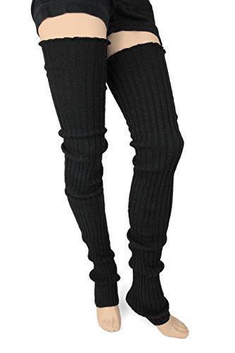 Super Long Cable Knit Leg Warmers (One Size, Black)