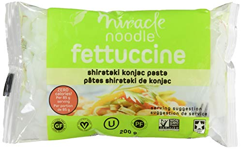 Miracle Noodle Zero Carb, Gluten Free Shirataki Pasta, Fettuccini (Packaging May Vary), 7-Ounce, (Pack of 6)