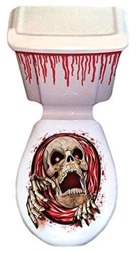 Scream Machine Halloween Green Monster Toilet Grabber Seat Cover & Cistern Scary Scene Setter Decorations by ()