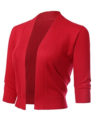 ARC Studio Women's Classic 3/4 Sleeve Open Front Cropped Cardigans (S-XL) L Red