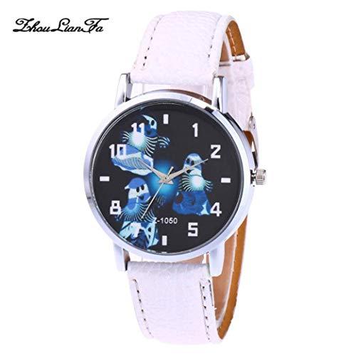 Naditon Watch Clearance,Unisex Fashion Faux Leather Band Halloween Leisure Analog Quartz Sport Wrist Watch (Pink)