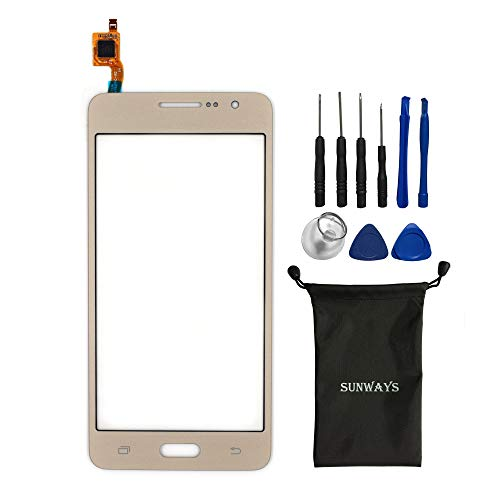 sunways Glass Lens Screen with Touch Digitizer Replacement Compatible with Samsung Galaxy Grand Prime G530 G530F G5308(Gold) with Device Opening Tools