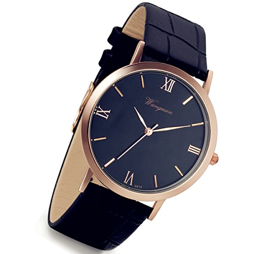 (Lancardo Mens Watch Quartz Analog Roman Numeral Dial Rose Gold Tone Black Leather Casual Business Dress Bracelet Bangle Wristwatch)