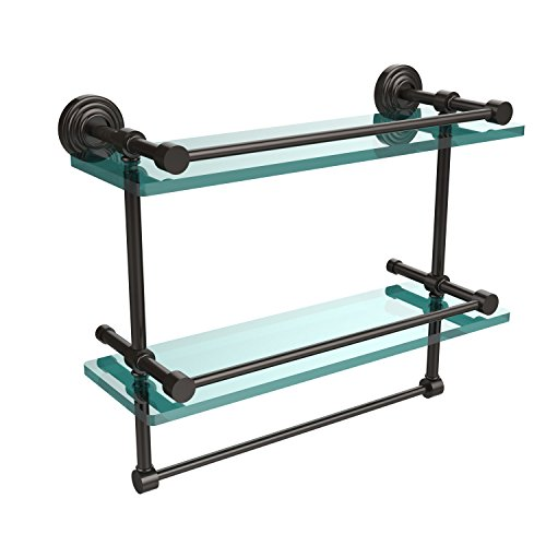 (Allied Brass WP-2TB/16-GAL-PEW 16 Inch Gallery Double Glass Shelf with Towel Bar Antique Pewter)