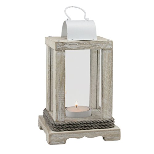 Stonebriar Coastal Worn White Wooden Candle Lantern with Nautical Rope Detail, Use as Decoration for Parties, a Beach House Inspired Wedding Centerpiece, or a Rustic Mantle Decoration -