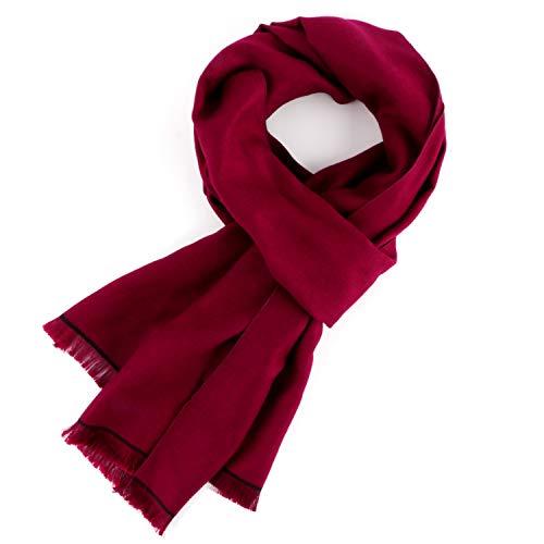 Landisun Scarf Cashmere Soft Long Classical Tassels Burgundy ()