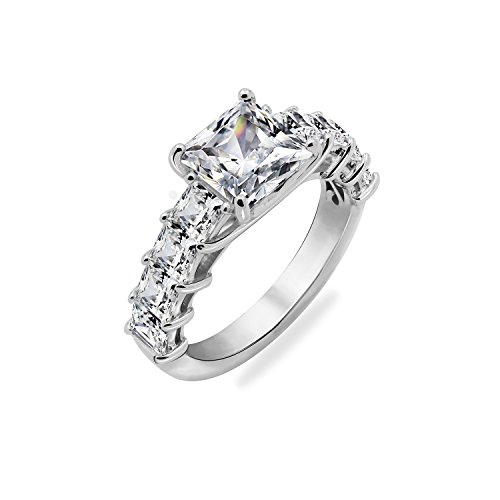Diamonbliss Platinum Plated Sterling Silver Cubic Zirconia Princess Cut Ring Size-10