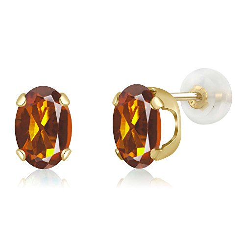 - 2.20 Ct Oval 8x6mm Orange Red Madeira Citrine 14K Yellow Gold Stud Earrings