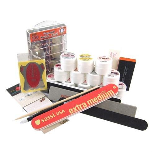 UV Gel Nail Kit 26 Piece - 100 Tips, 12 Gel Colors, 4 Emery Block/Board +Forms