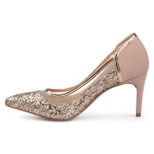 Brinley Co. Womens Kori Faux Suede Mesh Glitter Almond Toe Heels Rose Gold, 7 Regular US by Brinley Co (Image #2)
