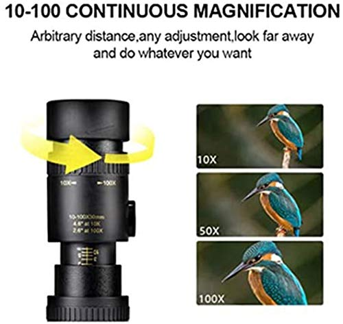 mkyulyp 4K 10-300X40mm Super Telephoto Zoom Monocular Telescope, High Power HD Lightweight Telescope Lens Focus Prism with Smartphone Clip and Tripod for Beach Travel