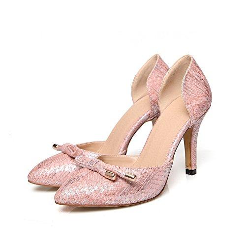 Allhqfashion Womens Wees Gesloten Teen Trek Aan Pu Stevige Spikes-stiletto Pumps Schoenen Roze